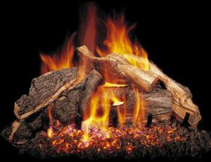 Burning Woodstack Gas Logs