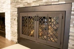 custom glass steel fireplace doors arabesque